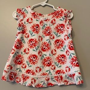 Red Flower Print Blouse, Size 4T